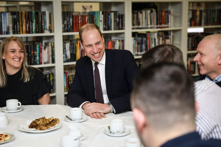 The Duke of Cambridge visiting Michelin workers.
