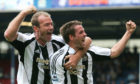 Michael Owen and Alan Shearer in happier times.