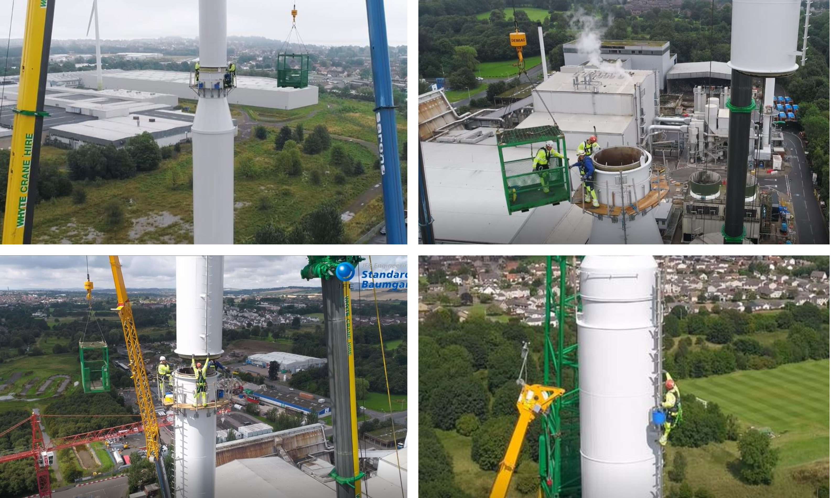 The work being carried out on the chimney at the new Baldovie incinerator.
