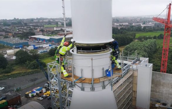 Work being carried out on the chimney at the new Baldovie waste to energy plant.