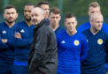 Steve Clarke with the Scotland players at training.