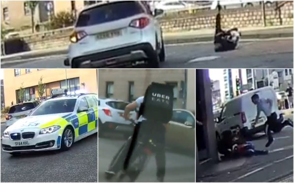 Top: The rider crashes to the ground. Bottom left: the police and an Uber Eats cyclist join the chase before the man is tackled to the ground.