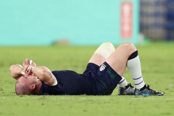 A dejected Stuart Hogg  following Scotland's defeat to Japan in  Yokohama.
