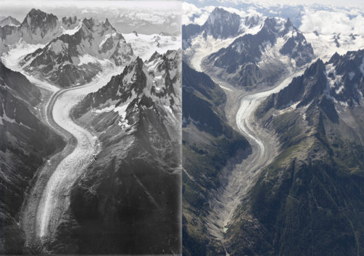 A century of climate change in the Alps