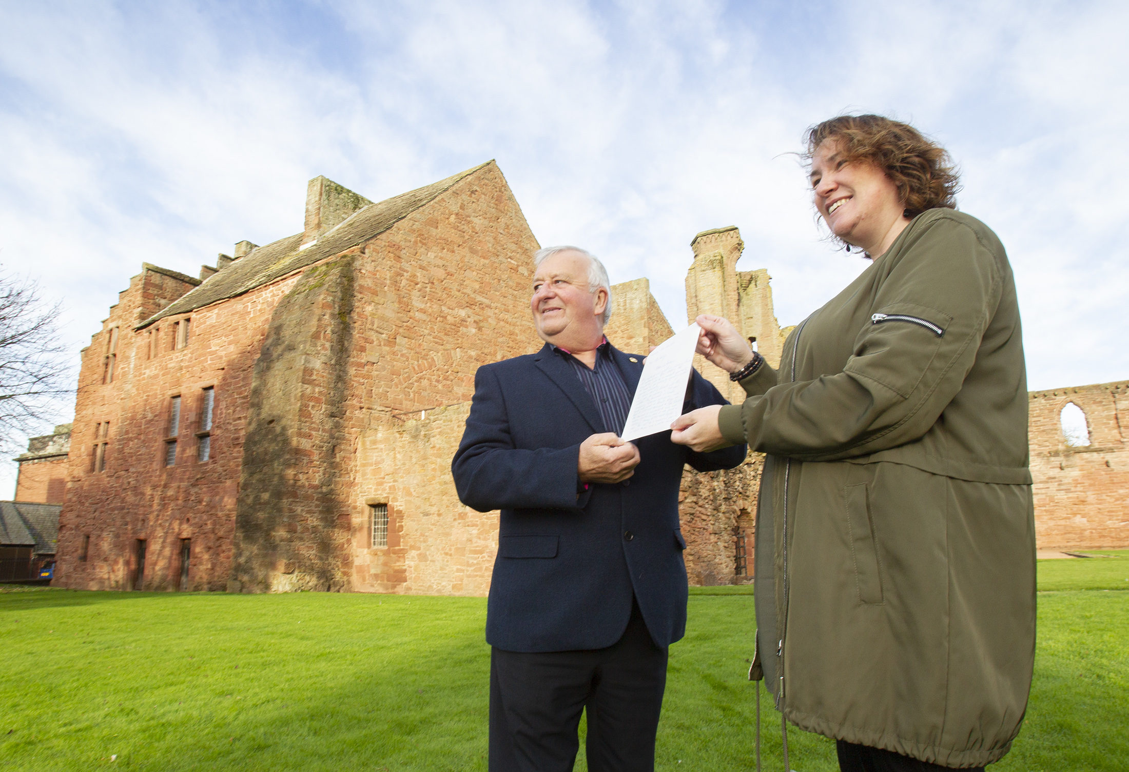 Harry Simpson, chair of Arbroath 2020, with Myra Rennie who wrote to the Pope.