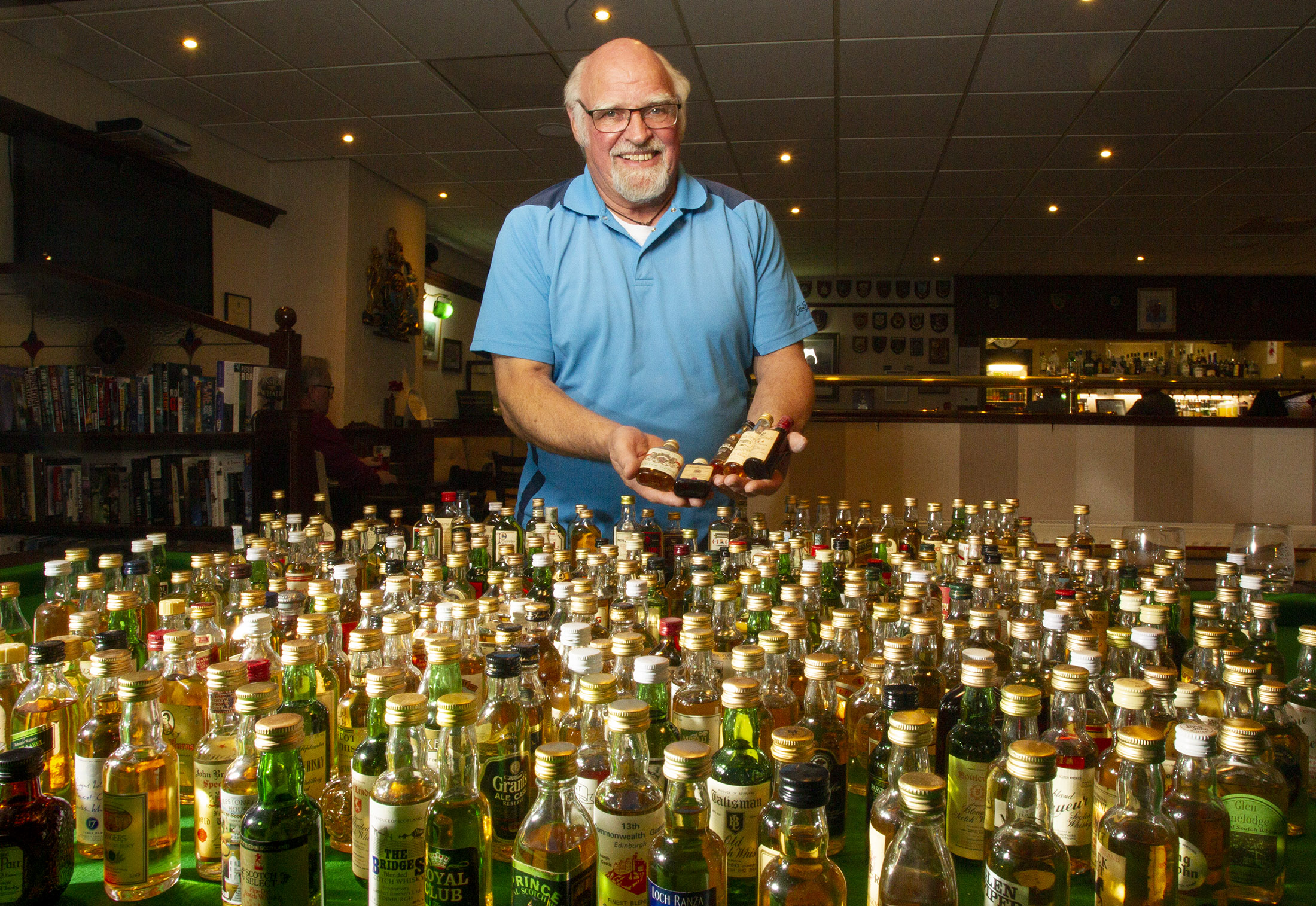 Steve Horsfall with his collection at the British Legion in Carnoustie