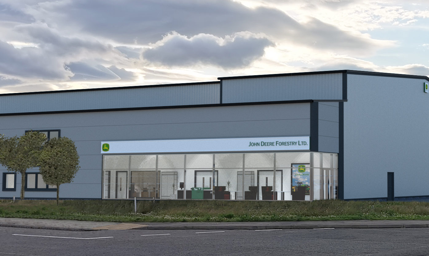 An artists impression of part of the John Deere Forestry building being created at North Muirton Industrial Estate