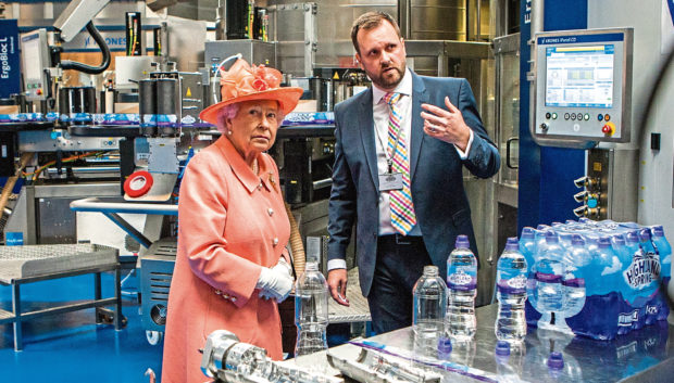 The Queen visits the Highland Spring factory in 2017.