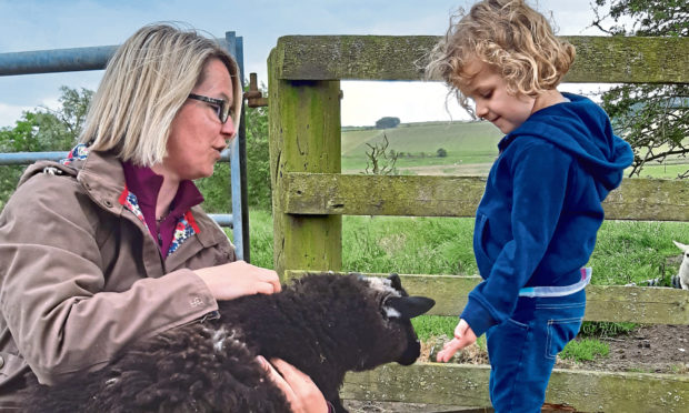 Helping out on the farm at Craigduckie.