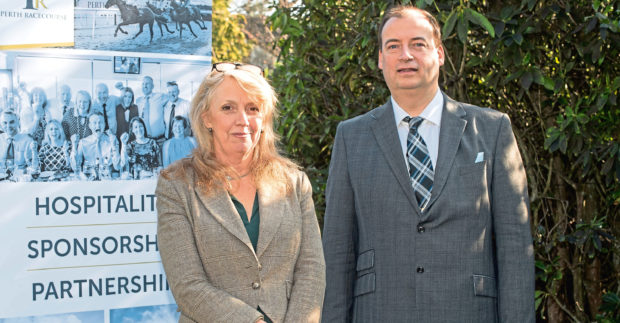 Tricia Robertson of Perth Racecourse and Brett Jackson of Granite PR.  Picture by Abermedia / Michal Wachucik