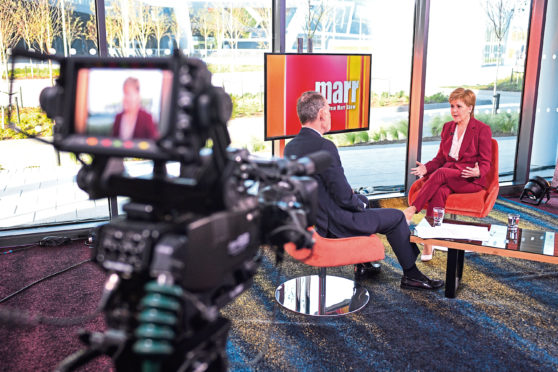 First Minister Nicola Sturgeon on the Andrew Marr show.
