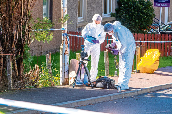 Police on the scene after the incident in Blairhall in October 2018.