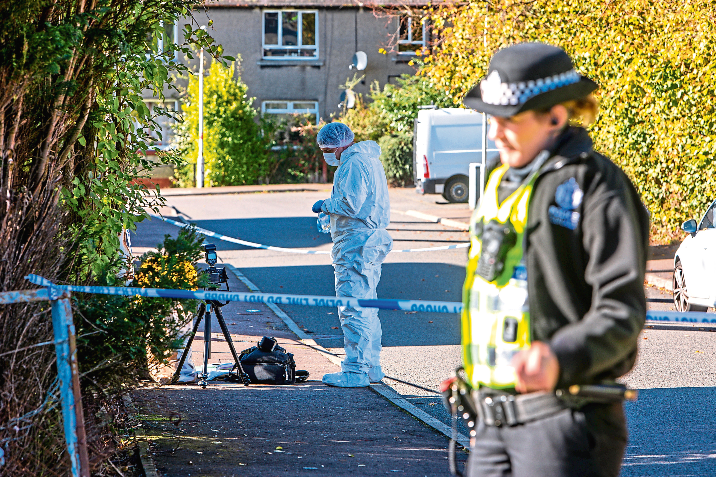 Police at the scene in Blairhall after the death of Claire Tunrbull.