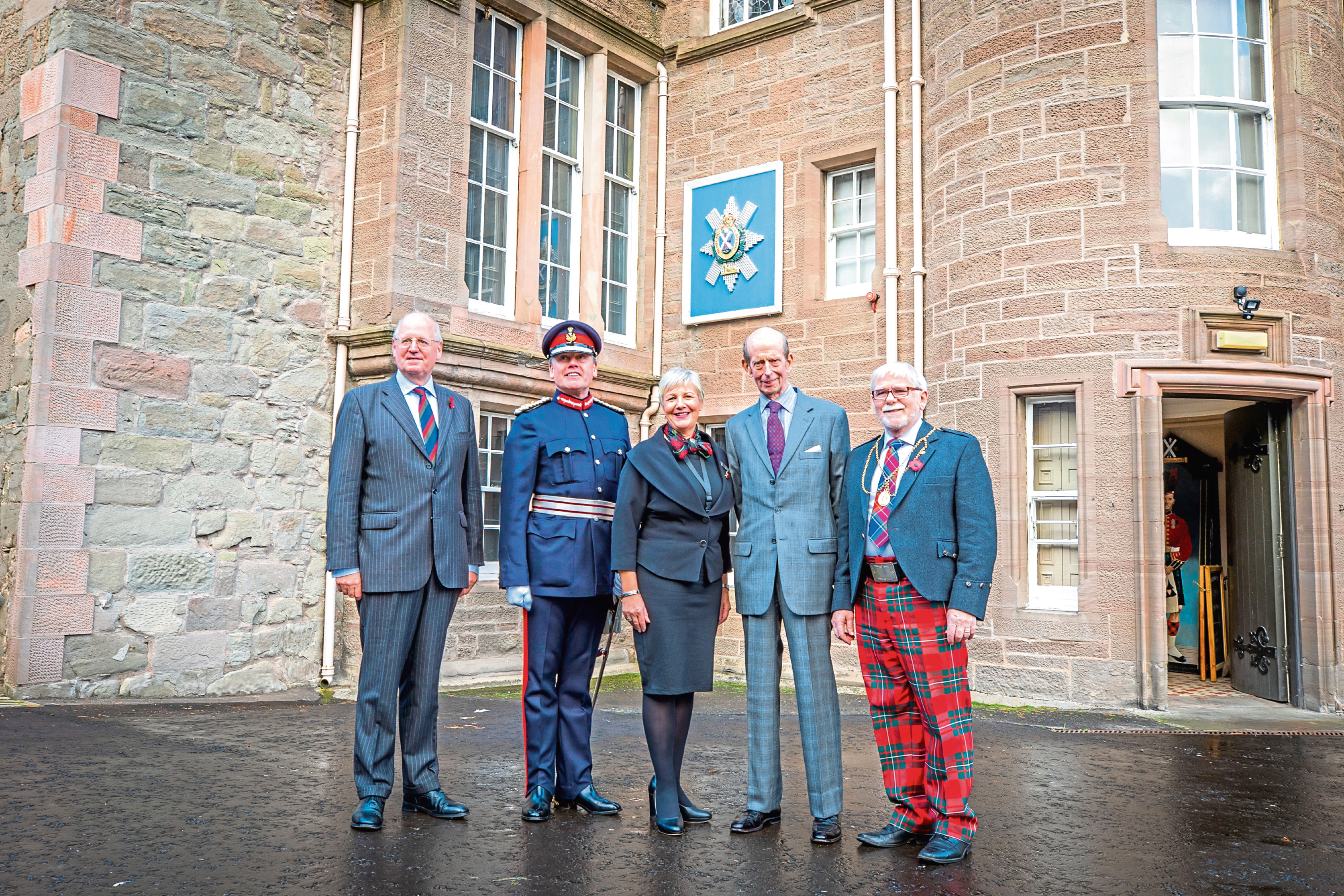 At the museum are, from left, Major General Michael Riddell-Webster, chairman of The Black Watch Castle and Museum Lord Lieutenant Stephen Leckie; Anne Kinnes; the Duke of Kent and Provost Dennis Melloy.