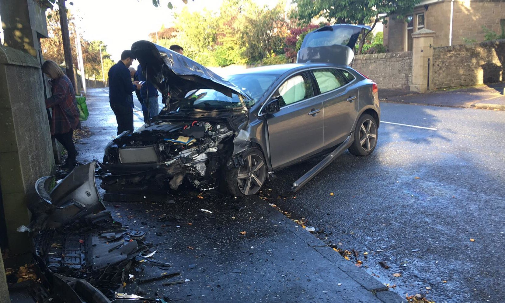 One of the vehicles involved in the collision on Perth Road.