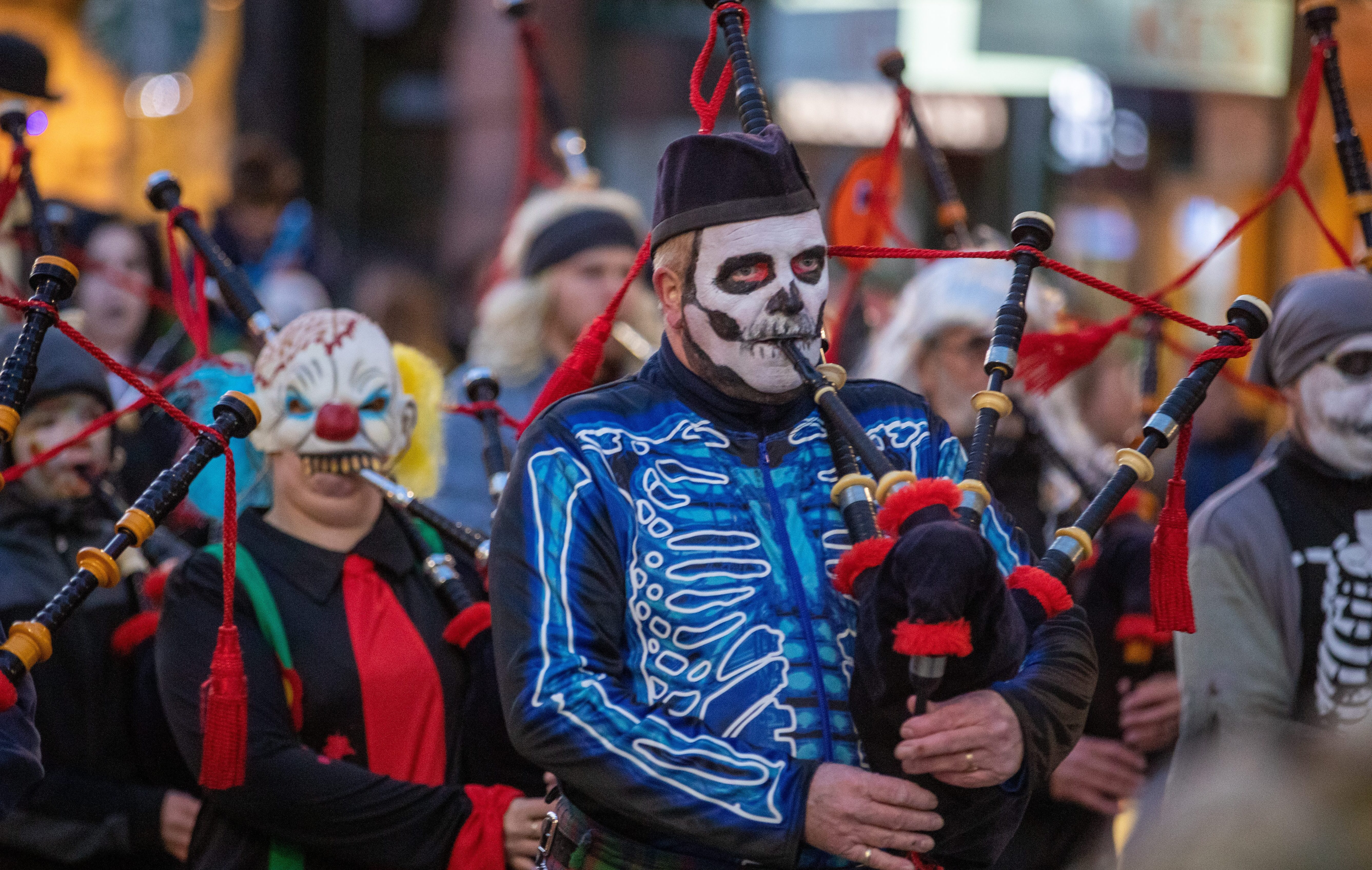 The Perth & District Pipe band got in on the act during the Massive Halloween party in Perth city centre including parade and live music.