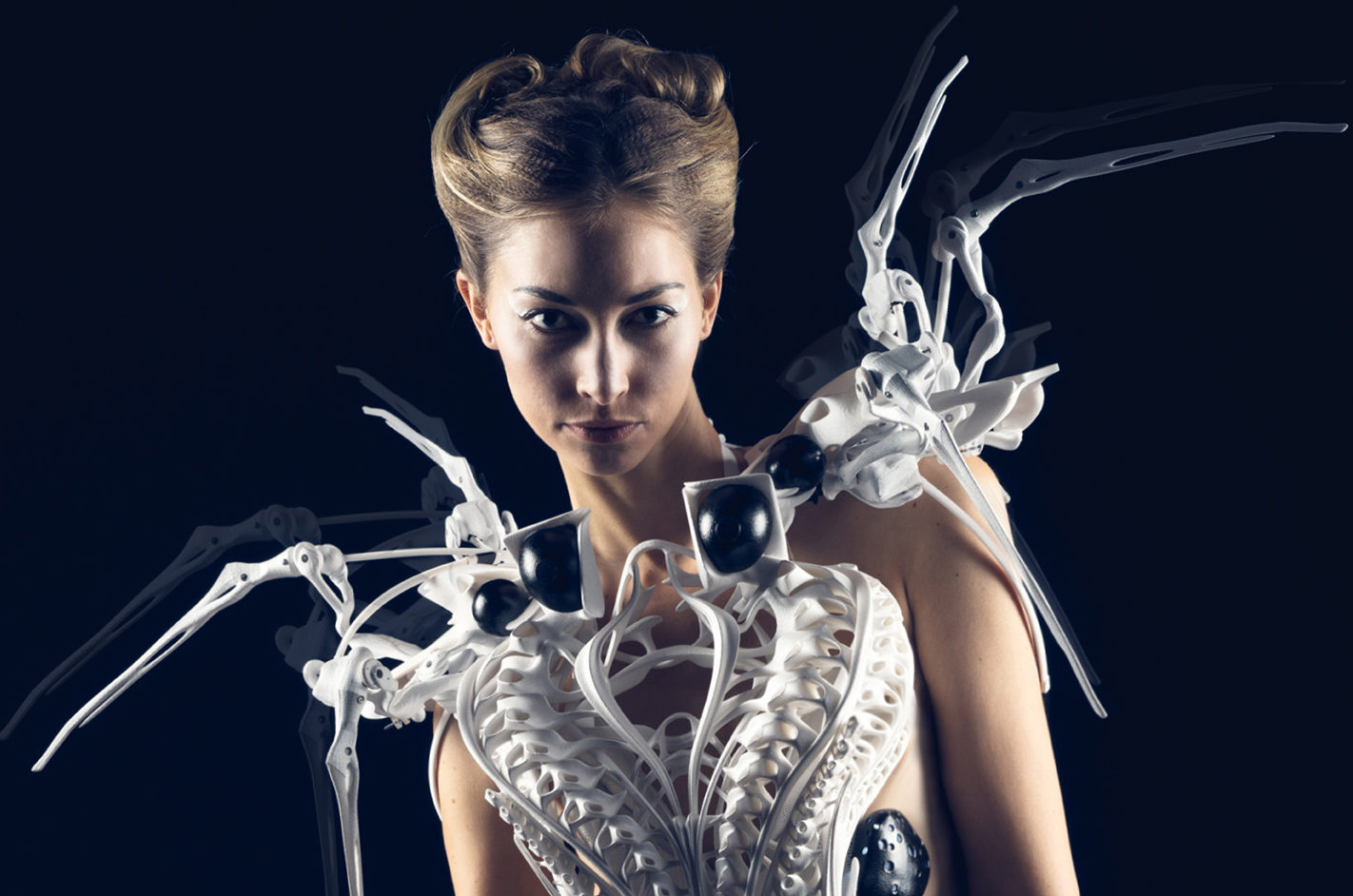 Anouk Wipprecht_ Spider Dress 2.0_ 2015 3D-printed with Intel Edison Microcontrollers.