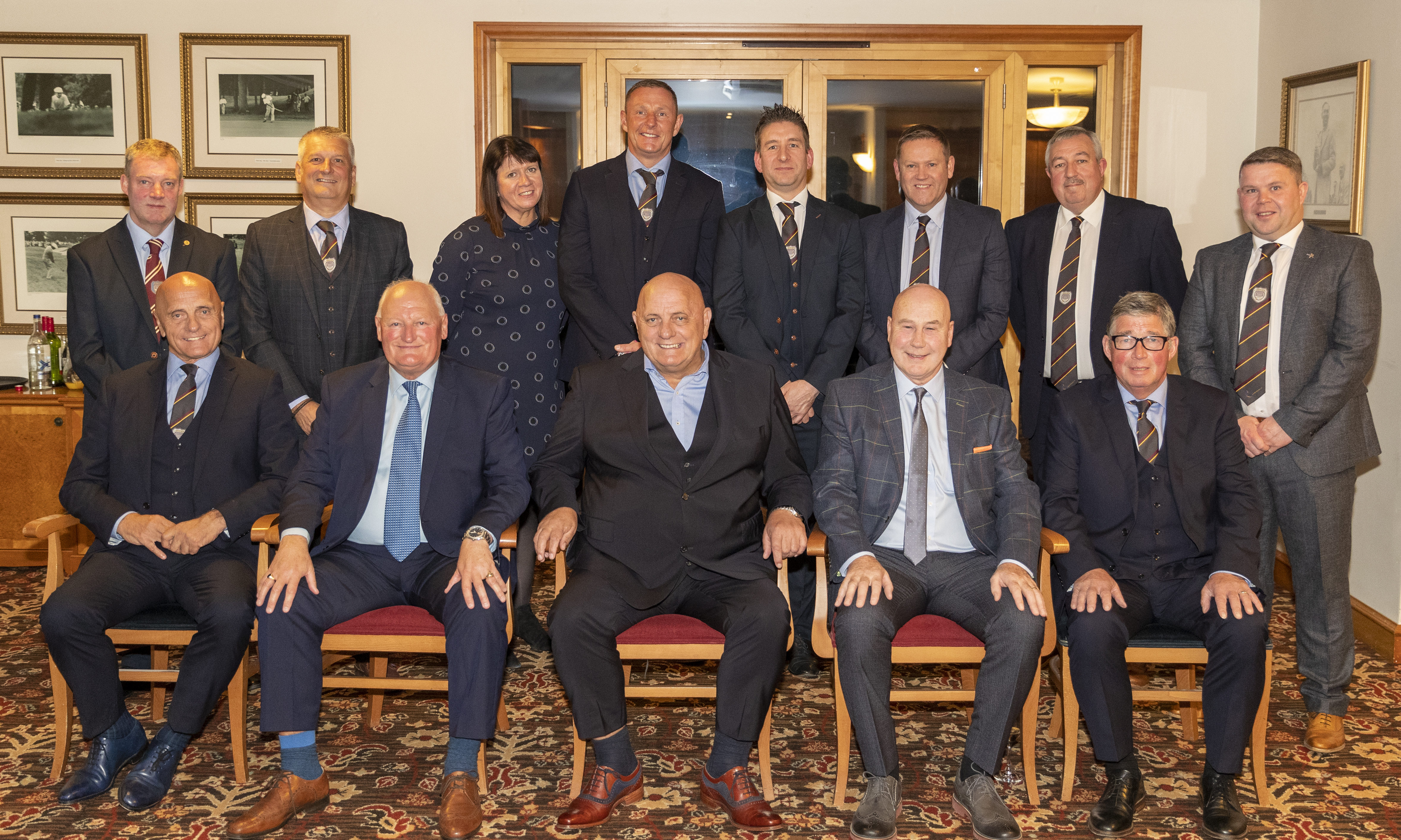 Back Row  Dr Gary Callon (Club Secretary), Mike Caird (Chairman), Anne McKeown (Director), Robert Douglas (Goalkeeping Coach), Robert Sim (Treasurer), Brian Cargill (Director), Ewen West (Vice Chairman), Jonny Booth (Director)  Front Row  Ian Campbell (Assistant Manager), Jimmy Bone (Hall of Fame Inductee), Dick Campbell (Manager), Derek Rylance (Hall of Fame Inductee), John Young (Coach)