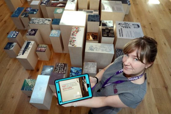 The interactive exhibit as demonstrated by Communications Officer Leanor Blackhall. Picture credit: Gareth Jennings.