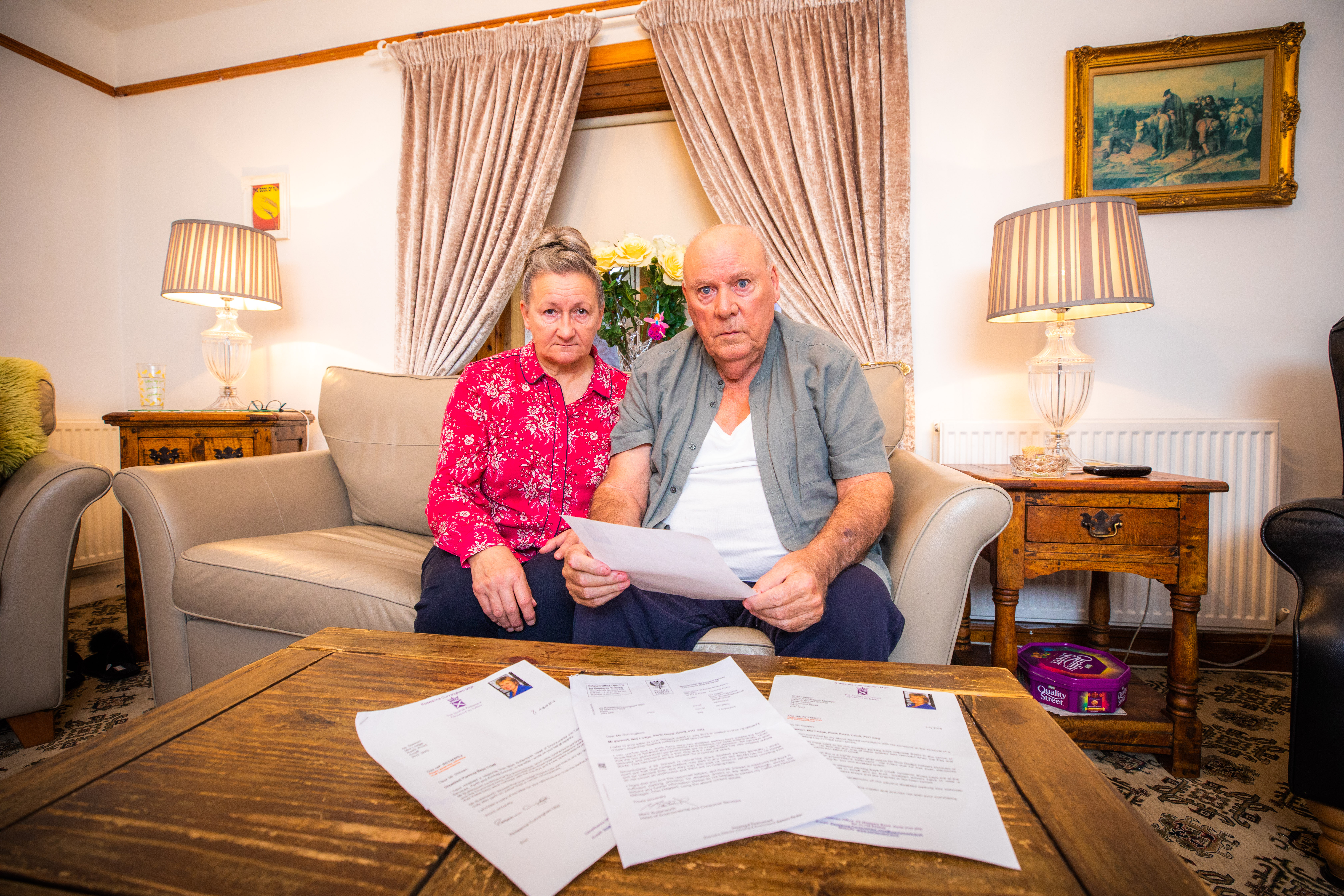 Joseph and Annette Stewart with responses to their letters to local politicians. Picture credit Steve MacDougall.