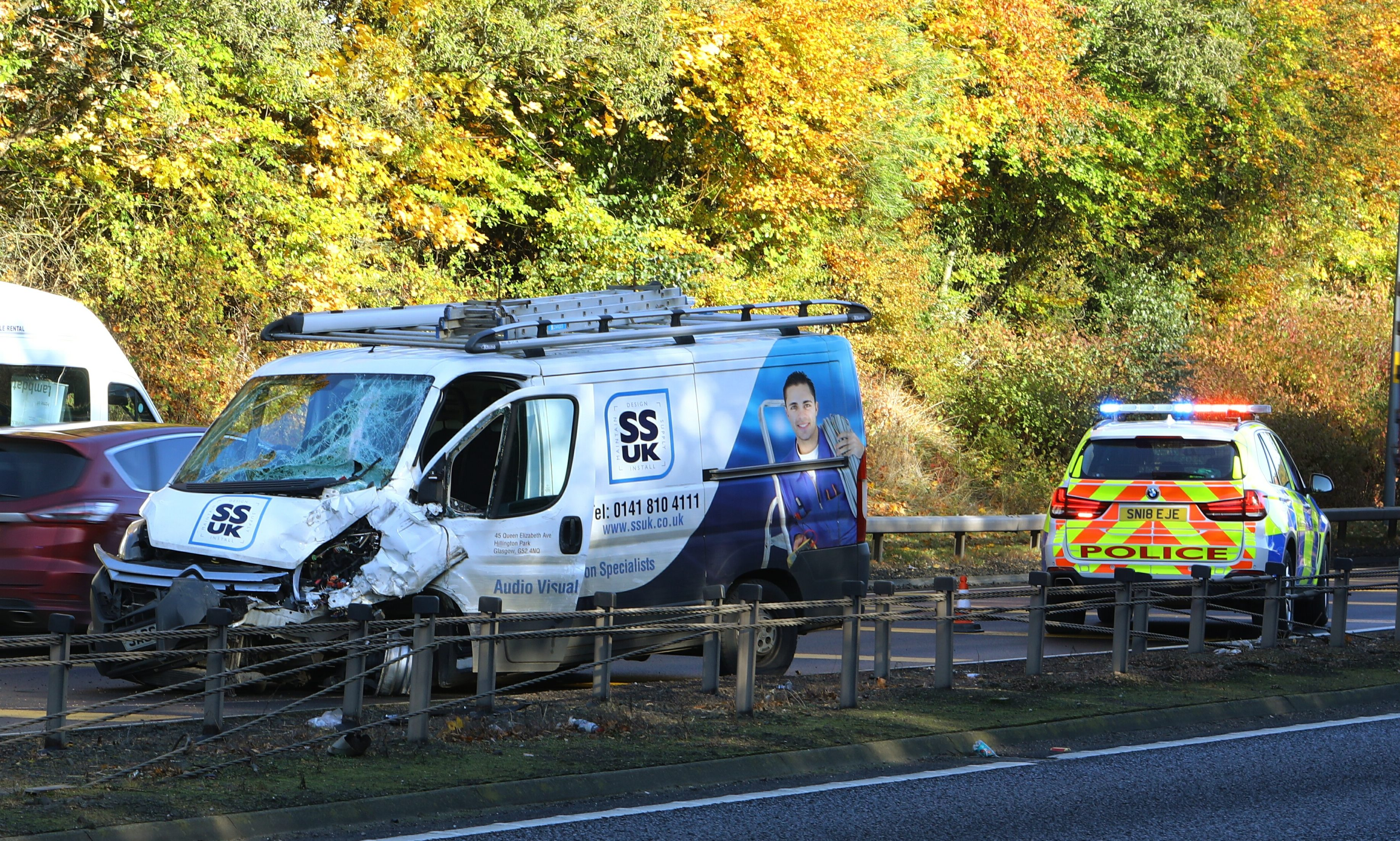 The scene of the accident on the A90.