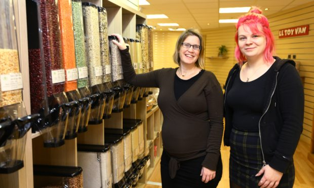 Louise Humpington, left, and Morgan Connelly in the new Grain and Sustain store in Buntisland's High Street.