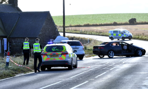 The scene of the A92 collision at Mill of Uras.