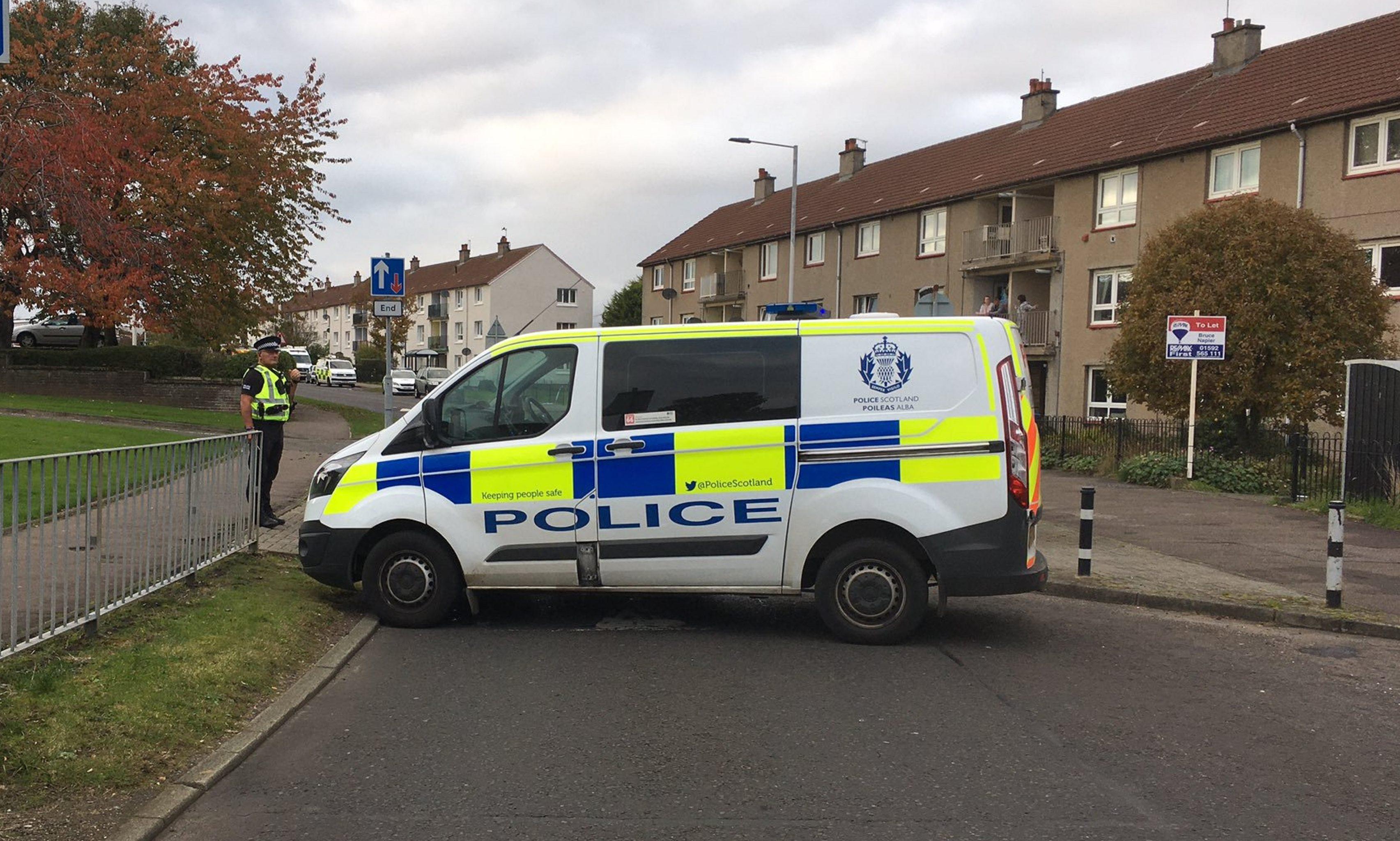 The incident on Fair Isle Road, Kirkcaldy.