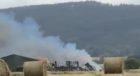 Fire at Netherton Farm, near Abernethy.