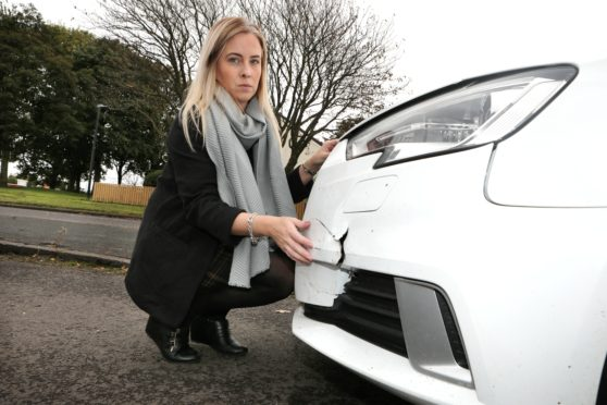 Debbie Martin, 34, had her Audi car hit while parked outside her home in Broughty Ferry court, Dundee.