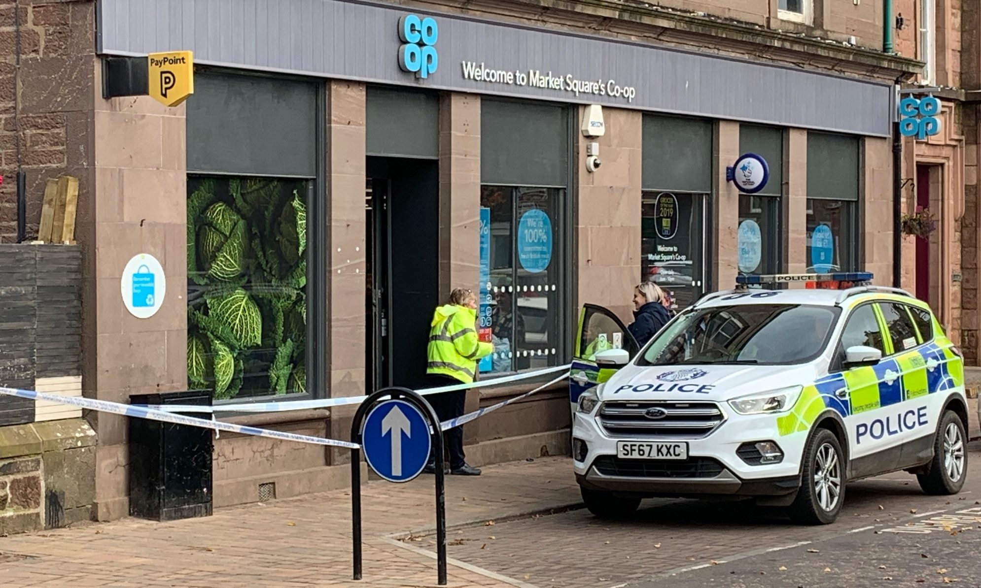 Police at the Alyth Co-op.