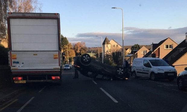 The overturned vehicle in Inverkeithing. (Pic Fife Jammers).