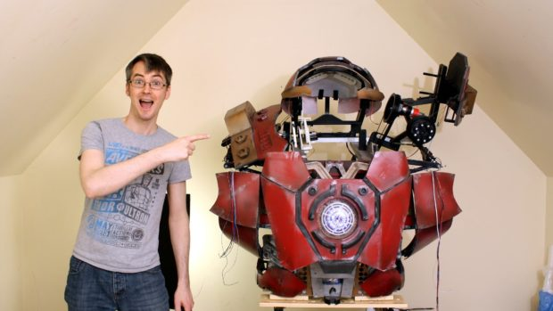 James Bruton with his Iron Man suit.