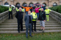 Representatives of the organisations that are preparing for the public fireworks displays in Dundee with front - l to r - David McKenzie (Fire Service Local Authority Liaison Officer for Dundee City), Councillor Alan Ross (Convenor City Development), Inspector Kerry Lynch and Councillor Kevin Cordell (Convenor Community Safety and Public Protection), at Baxter Park Pavilion.