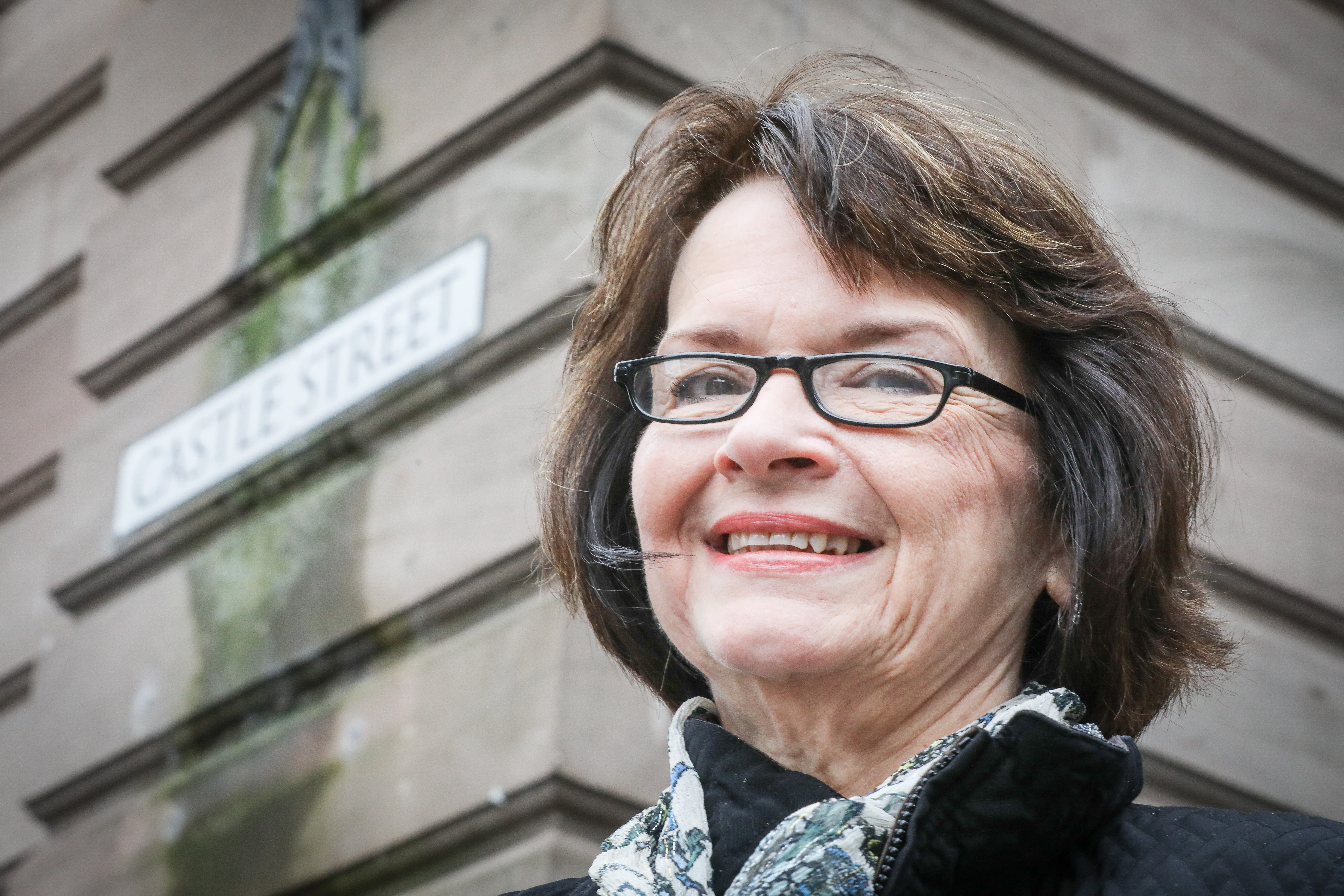 Barbara Bross visiting Castle Street in Dundee.