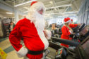 Santa (Garry Smith, organiser of the event) in training for the 5k at Olympia, Dundee.