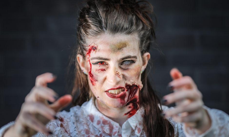 Linzi Peters on the Dundee Zombie Walk.