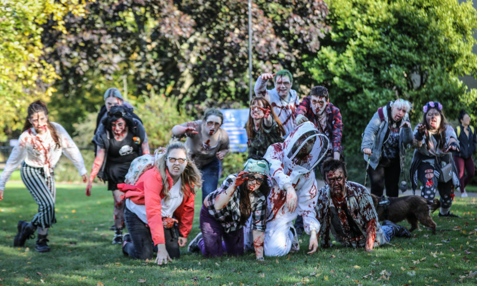 The zombies are ready to start the walk.