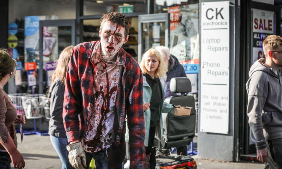 Tom Clark on the Dundee Zombie Walk.