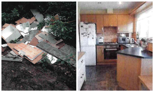 A kitchen dumped at Burnside, near Forfar came from a recently advertised house in Carnoustie.