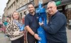 Walk and Talk Co-ordinator Gemma Lownie, Clive Duncan of Scottish Water and Montrose Independent councillor Tommy Stewart pictured at the new Top Up Tap on Montrose High Street Picture by Abermedia / Michal Wachucik