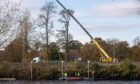 Crews dismantled the walkway at the Fergusson Gallery pontoons on Thursday morning.