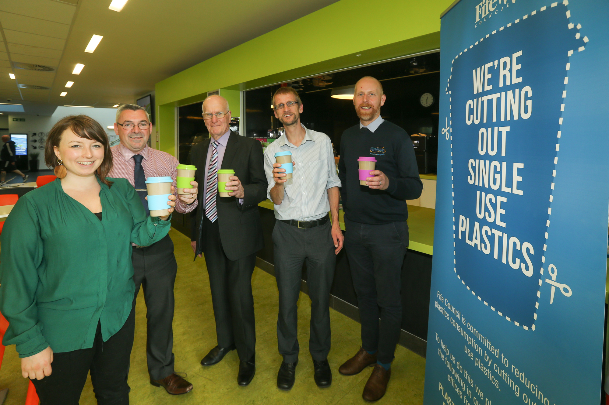 Image from left to right: Rosie Sim and Andrew Gernon, both of Fife Cultural Trust (ONFife), Cllr Ross Vettraino, Simon Jeynes, Resource Efficient Solutions and Scott Urquhart, Fife Sports and Leisure Trust.