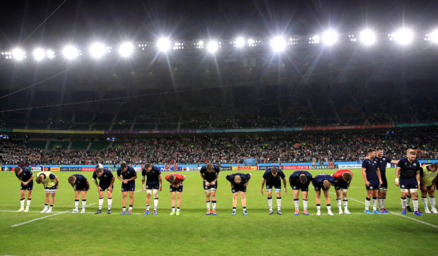 Scotland players bow to fans after the 2019 Rugby World Cup Pool A match at Shizuoka Stadium Ecopa, Shizuoka Prefecture. PA Photo. Picture date: Wednesday October 9, 2019. See PA story RUGBYU Scotland. Photo credit should read: Adam Davy/PA Wire. RESTRICTIONS: Editorial use only. Strictly no commercial use or association. Still image use only. Use implies acceptance of RWC 2019 T&Cs (in particular Section 5 of RWC 2019 T&Cs) at URL: bit.ly/2knOId6