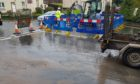 The burst water main on Riggs Road.
