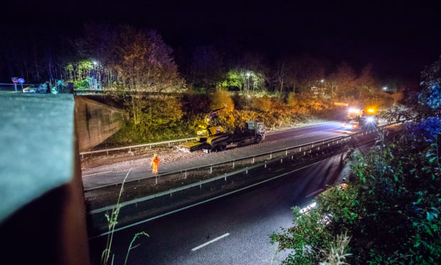 The A90 flyover after the crash.