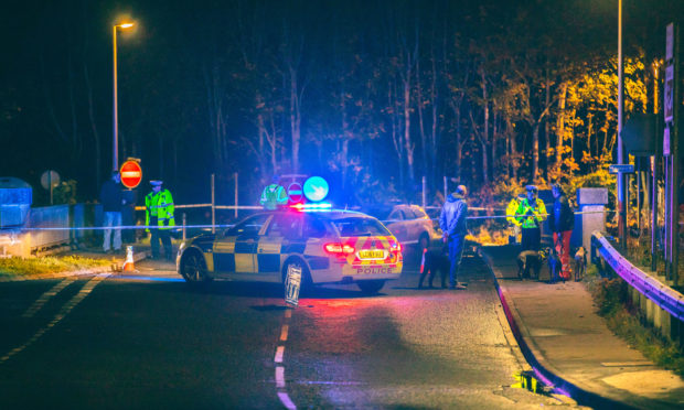 Police at the scene following the A90 flyover crash.