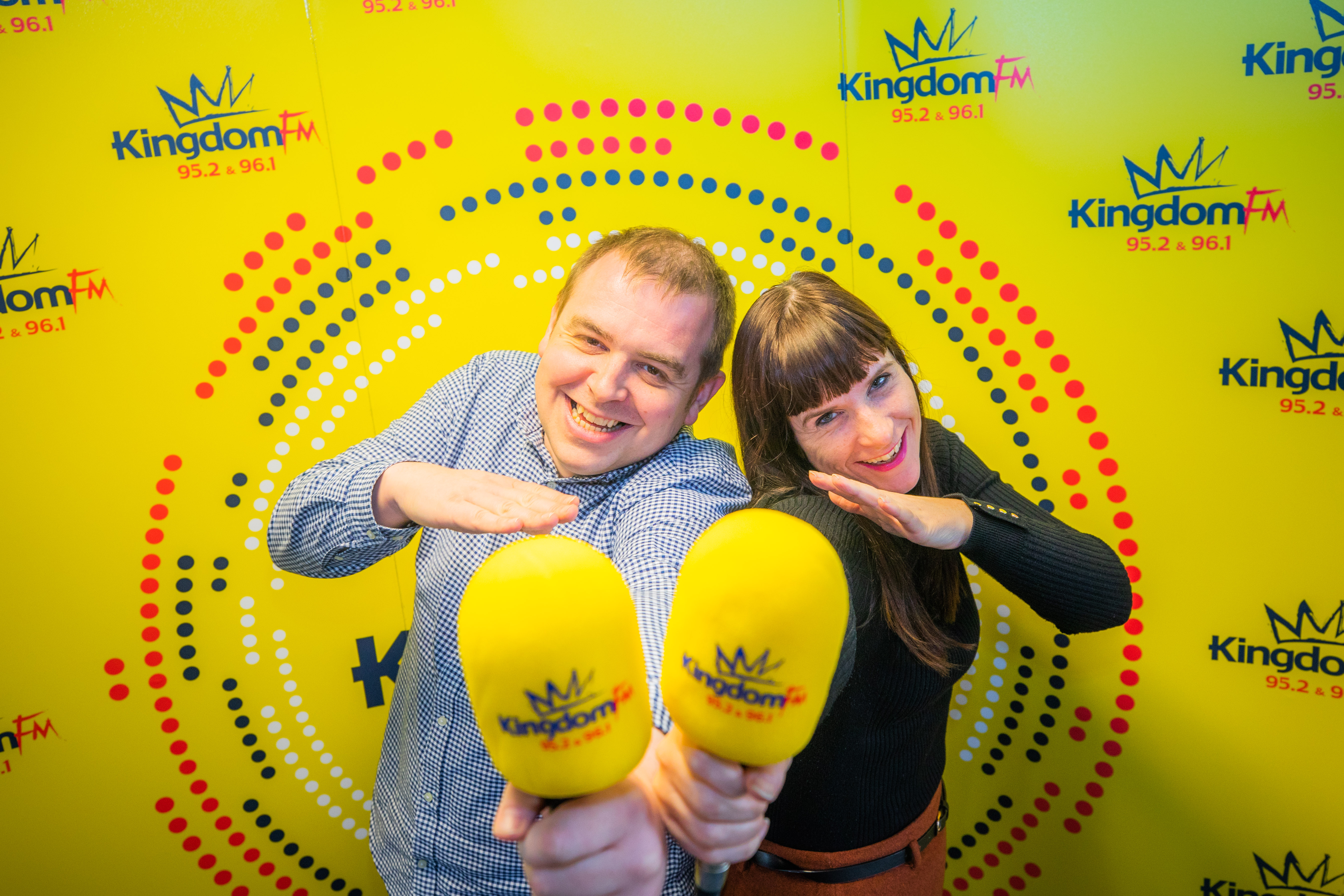 Picture shows station controller Dave Connor and breakfast presenter Vanessa Motion doing the 'dab'.