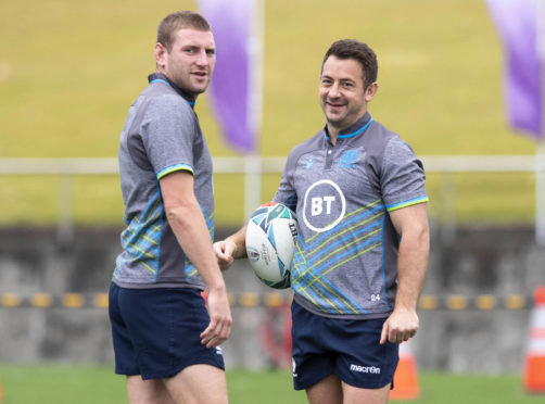Finn Russell (left) with Greig Laidlaw will team up for Scotland again.