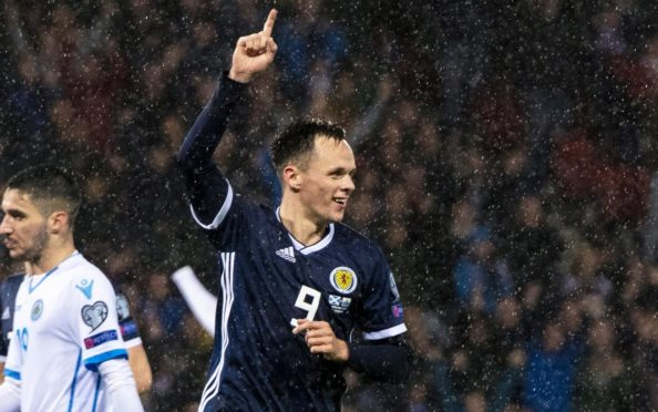 Lawrence Shankland celebrating his goal for Scotland against San Marino